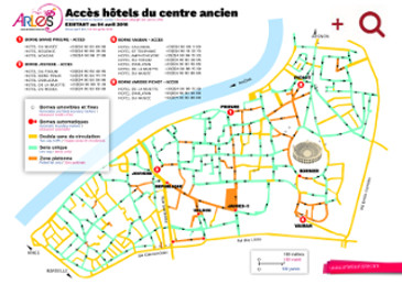 Directions to the hotels of the old center of Arles